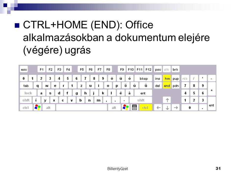 CTRL+HOME (END): Office alkalmazásokban a dokumentum elejére (végére) ugrás