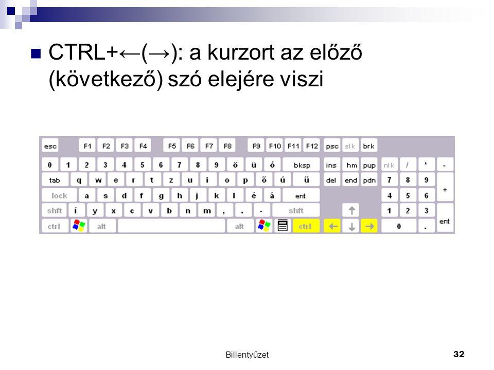 CTRL+←(→): a kurzort az előző (következő) szó elejére viszi
