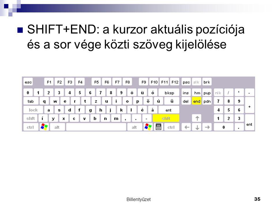 SHIFT+END: a kurzor aktuális pozíciója és a sor vége közti szöveg kijelölése