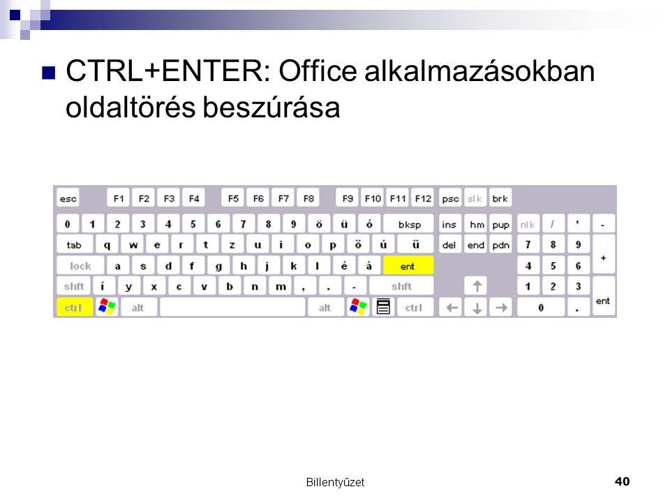 CTRL+ENTER: Office alkalmazásokban oldaltörés beszúrása