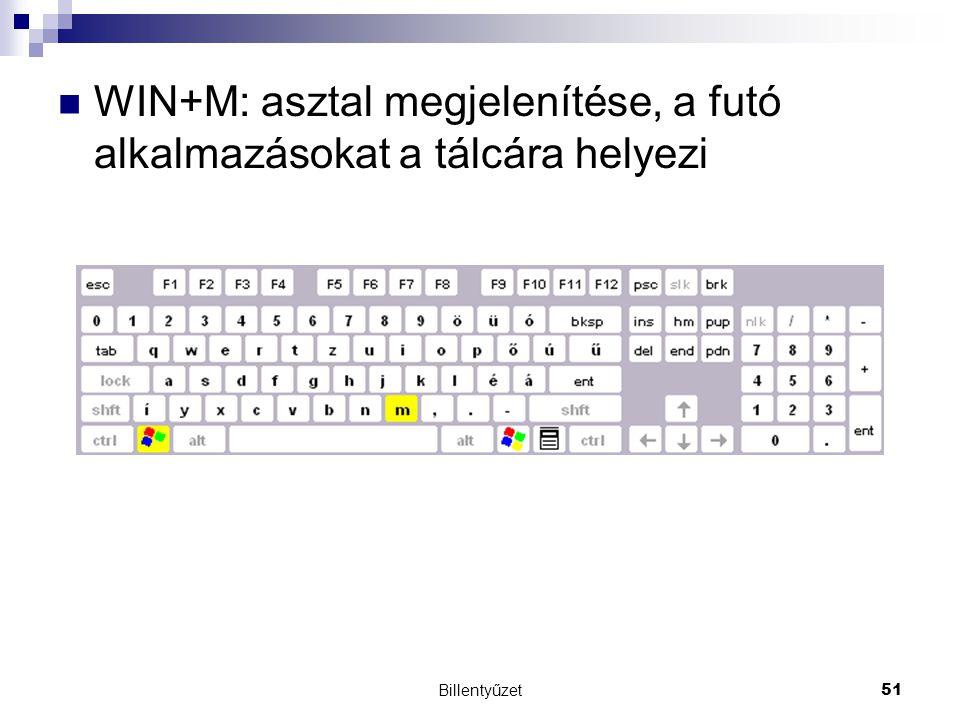 WIN+M: asztal megjelenítése, a futó alkalmazásokat a tálcára helyezi
