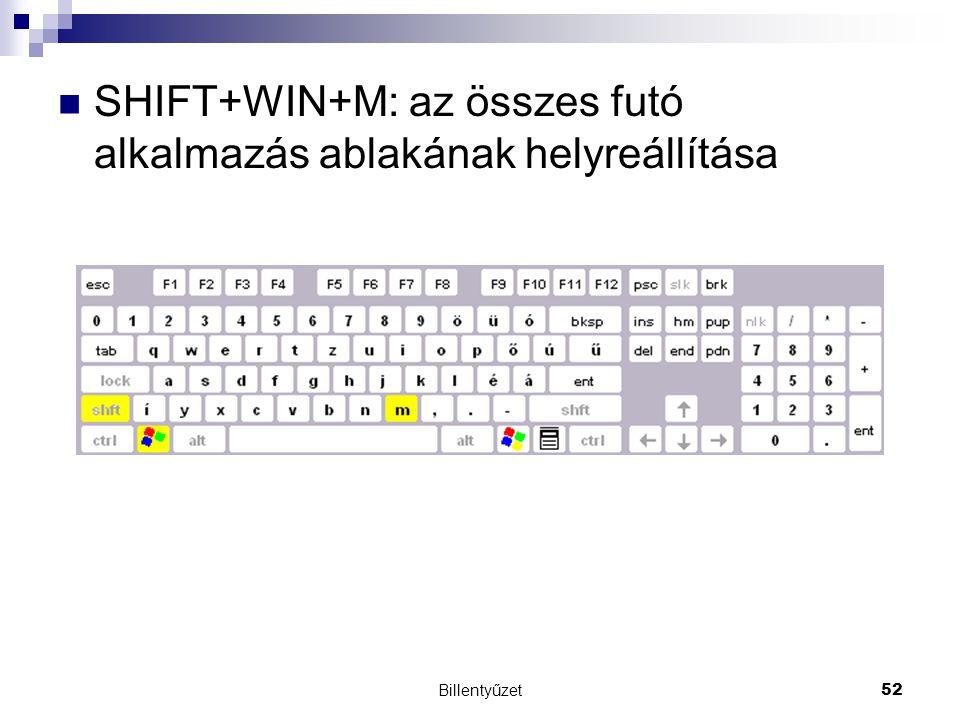 SHIFT+WIN+M: az összes futó alkalmazás ablakának helyreállítása