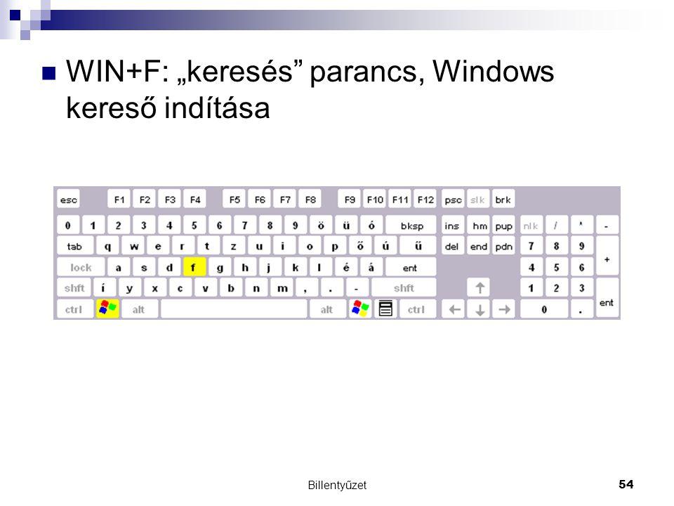 """WIN+F: """"keresés parancs, Windows kereső indítása"""