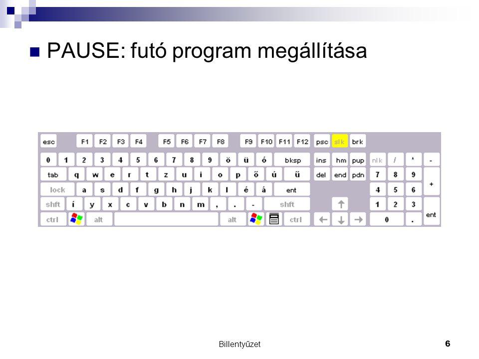 PAUSE: futó program megállítása