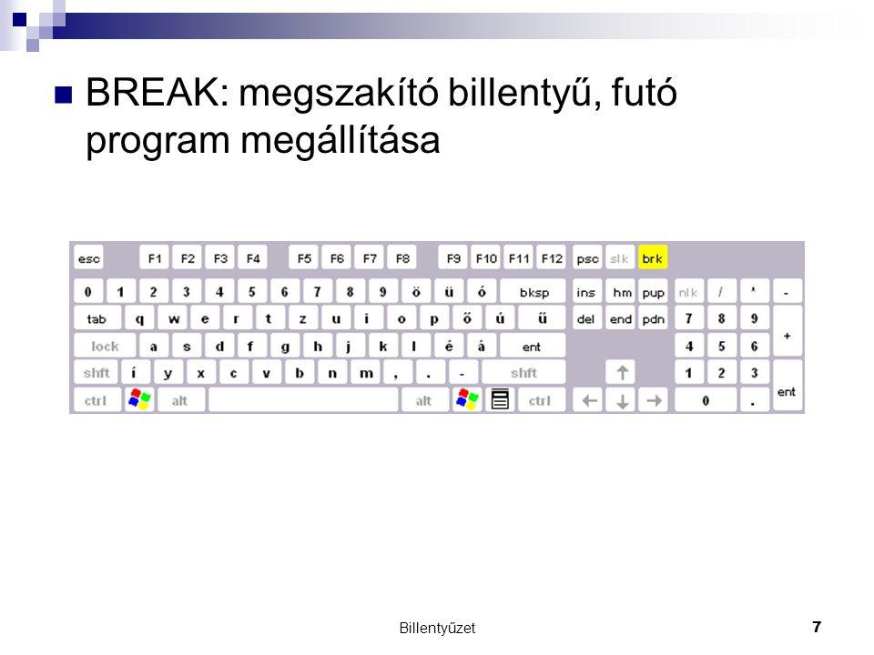 BREAK: megszakító billentyű, futó program megállítása