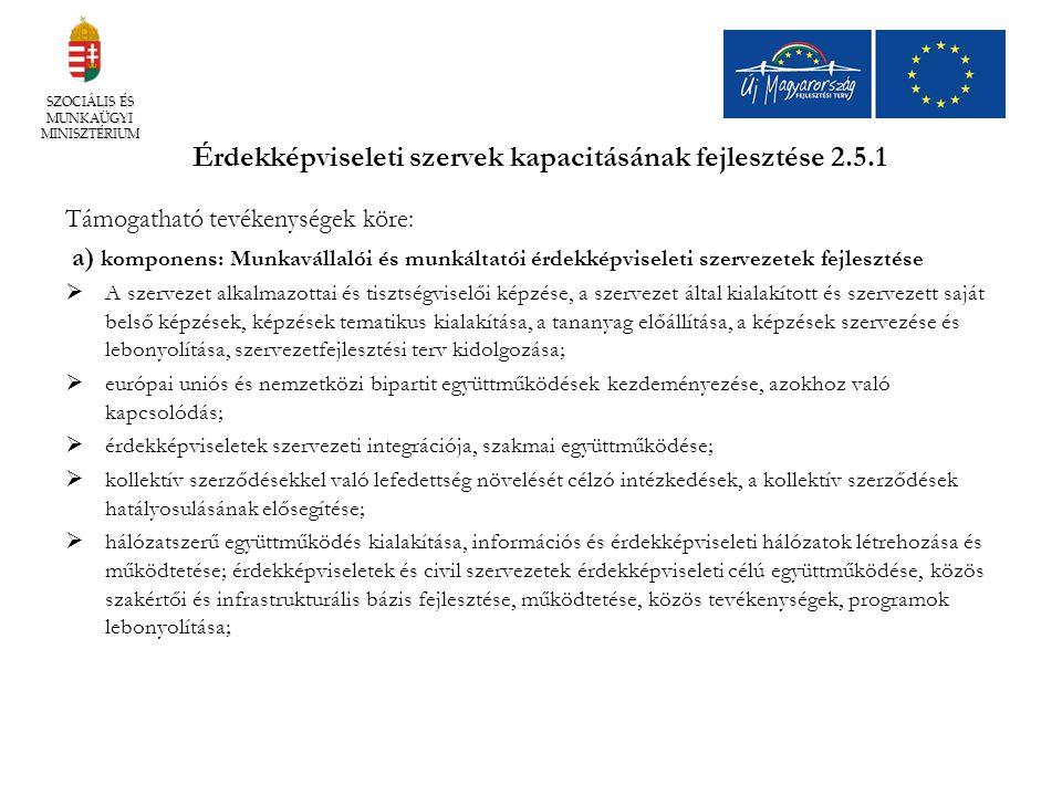Érdekképviseleti szervek kapacitásának fejlesztése 2.5.1
