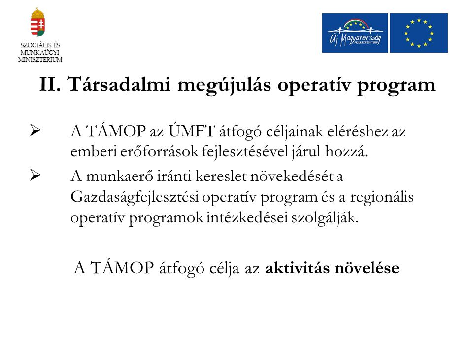 II. Társadalmi megújulás operatív program