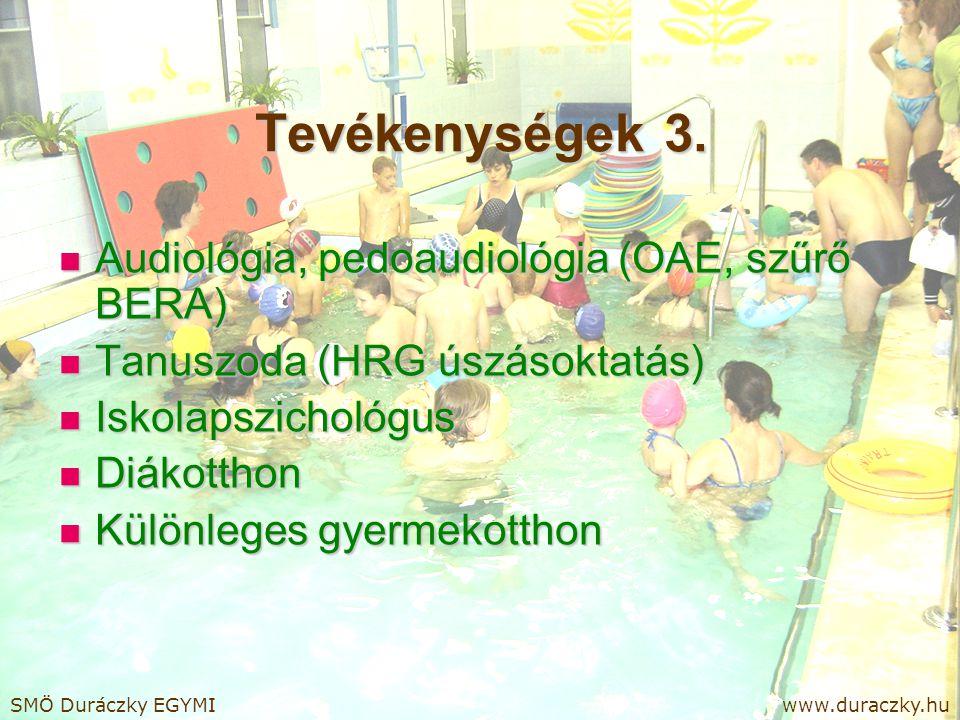 Tevékenységek 3. Audiológia, pedoaudiológia (OAE, szűrő BERA)