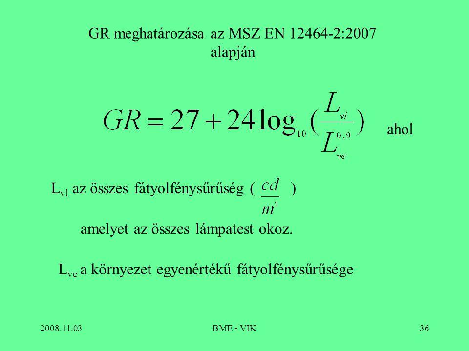 GR meghatározása az MSZ EN 12464-2:2007 alapján