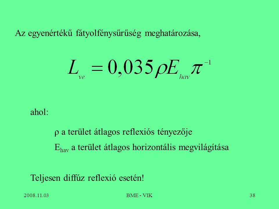 Az egyenértékű fátyolfénysűrűség meghatározása,