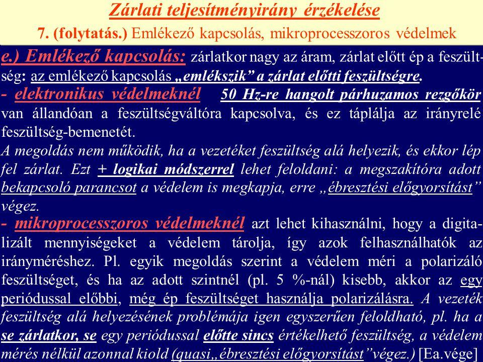 Zárlati teljesítményirány érzékelése 7. (folytatás