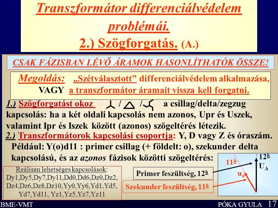 Transzformátor differenciálvédelem problémái. 2.) Szögforgatás. (A.)