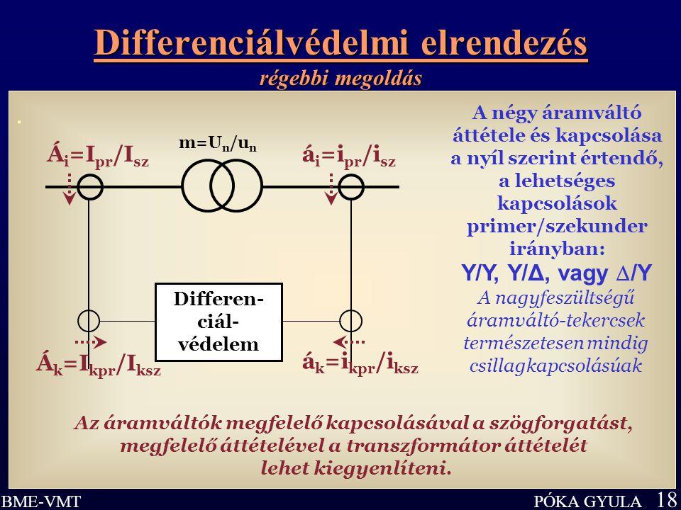 Differenciálvédelmi elrendezés régebbi megoldás