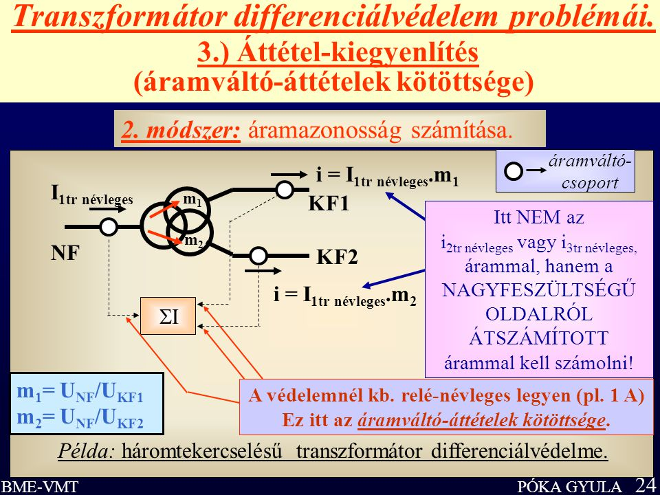 Transzformátor differenciálvédelem problémái. 3