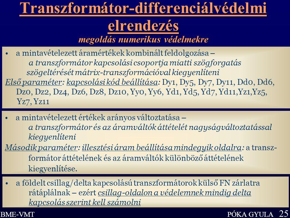 Transzformátor-differenciálvédelmi elrendezés megoldás numerikus védelmekre