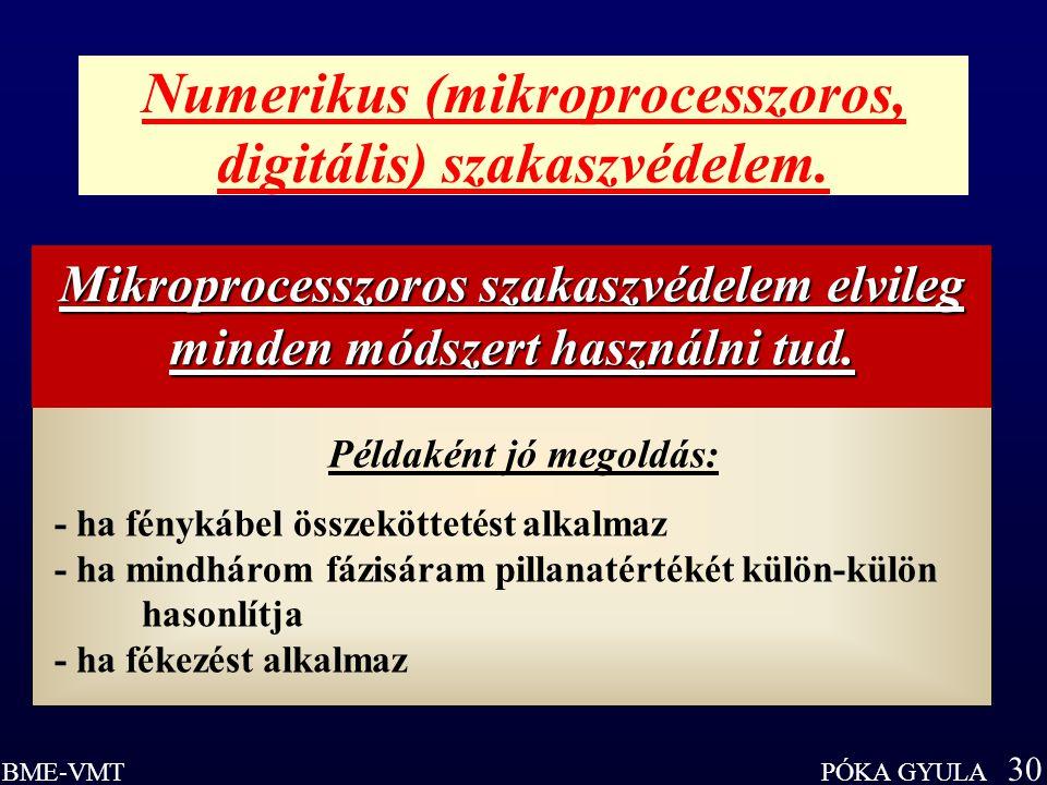 Numerikus (mikroprocesszoros, digitális) szakaszvédelem.