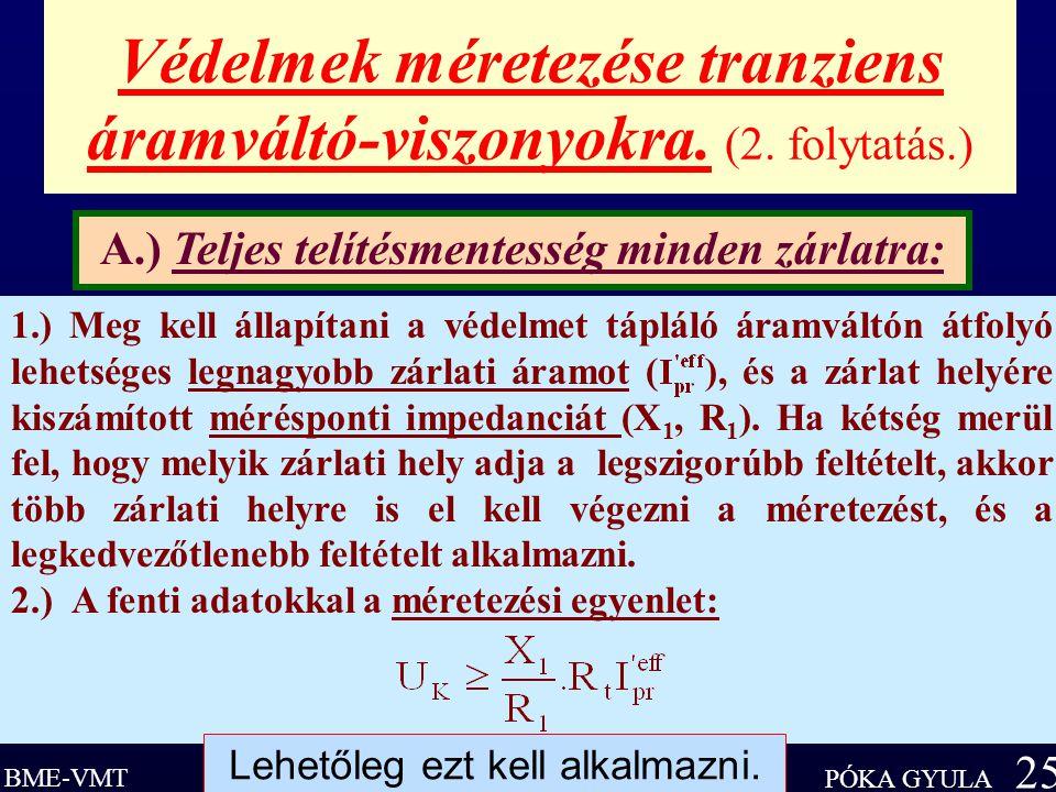 Védelmek méretezése tranziens áramváltó-viszonyokra. (2. folytatás.)