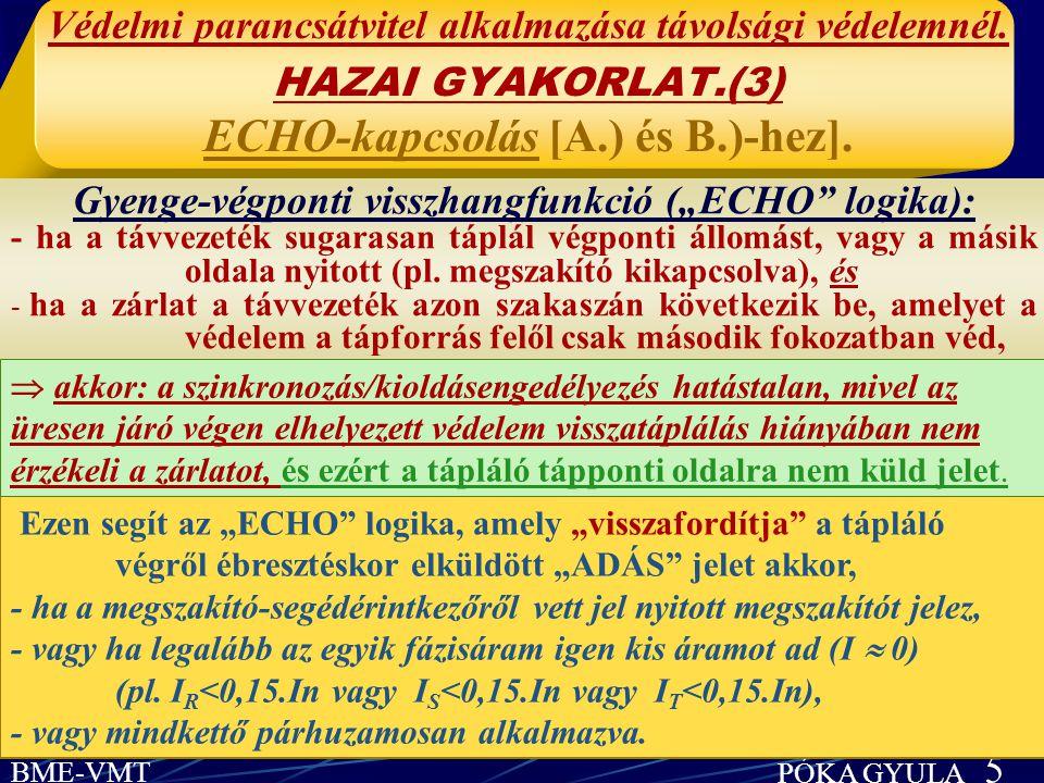 """Gyenge-végponti visszhangfunkció (""""ECHO logika):"""