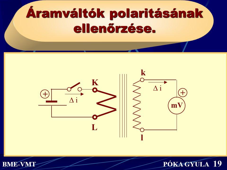 Áramváltók polaritásának ellenőrzése.