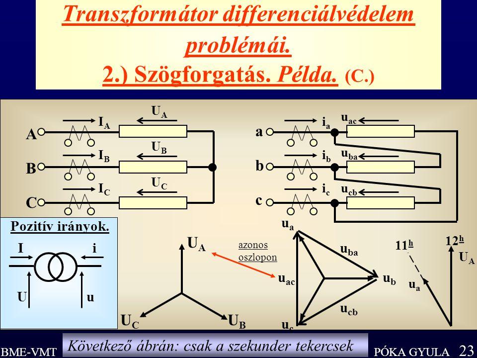 Transzformátor differenciálvédelem problémái. 2. ) Szögforgatás. Példa