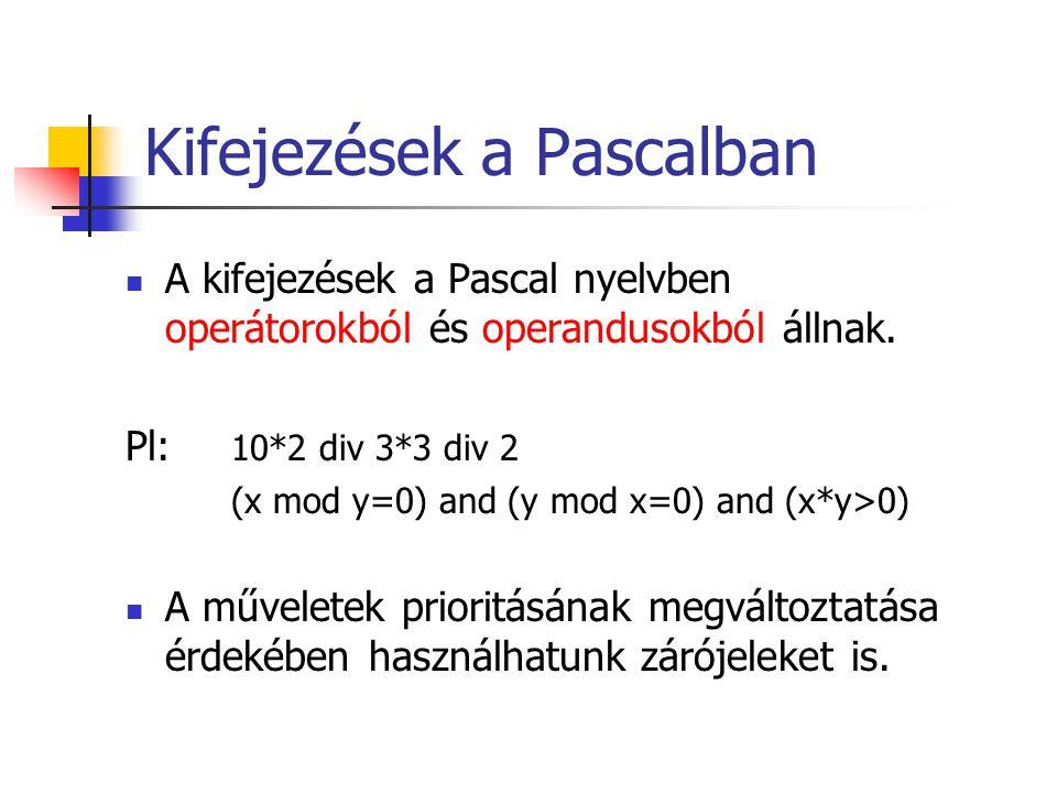Kifejezések a Pascalban
