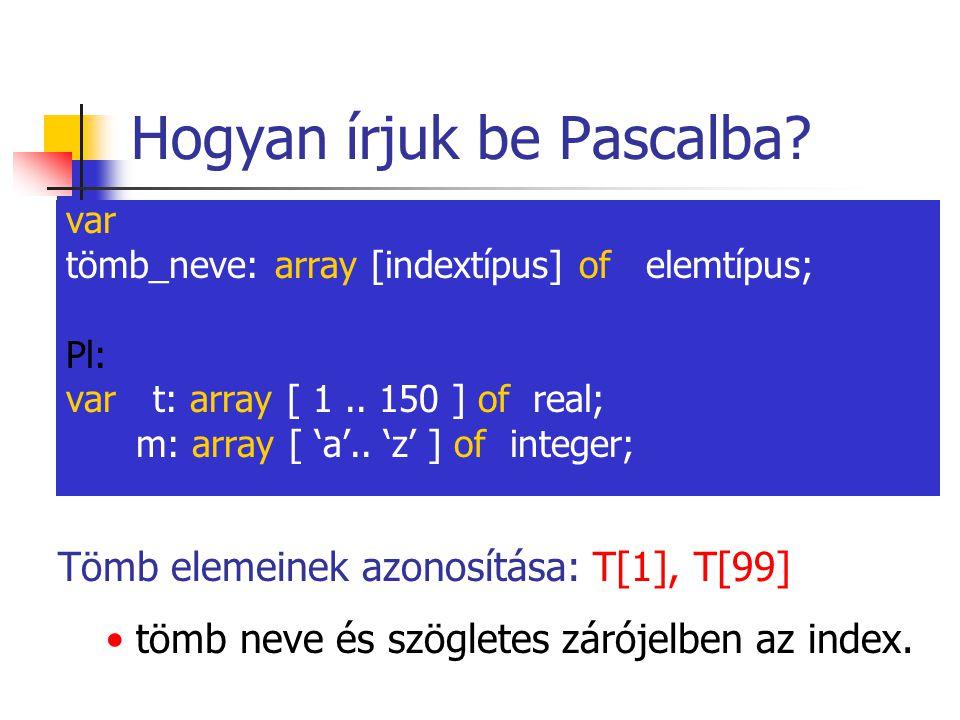 Hogyan írjuk be Pascalba