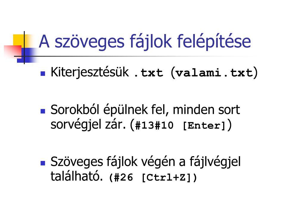 A szöveges fájlok felépítése