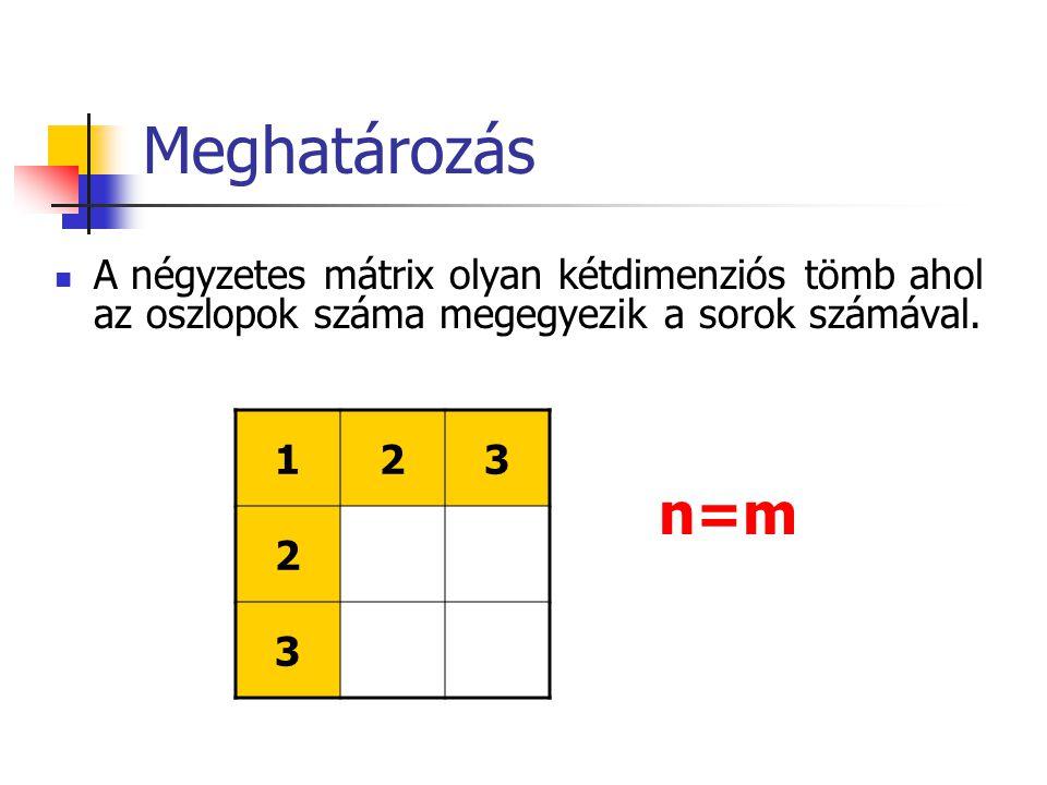 Meghatározás A négyzetes mátrix olyan kétdimenziós tömb ahol az oszlopok száma megegyezik a sorok számával.