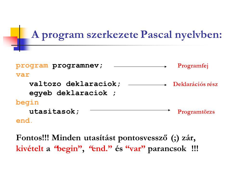 A program szerkezete Pascal nyelvben: