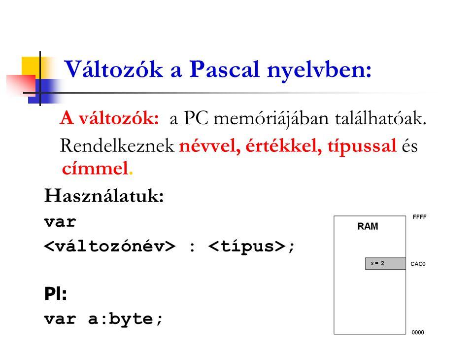 Változók a Pascal nyelvben: