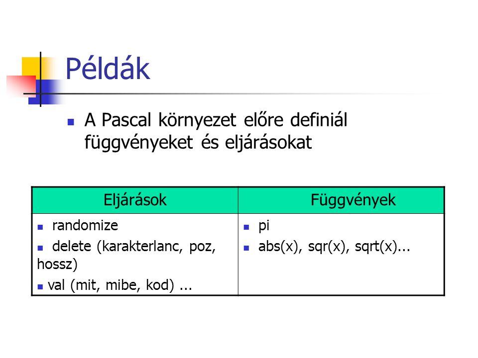Példák A Pascal környezet előre definiál függvényeket és eljárásokat