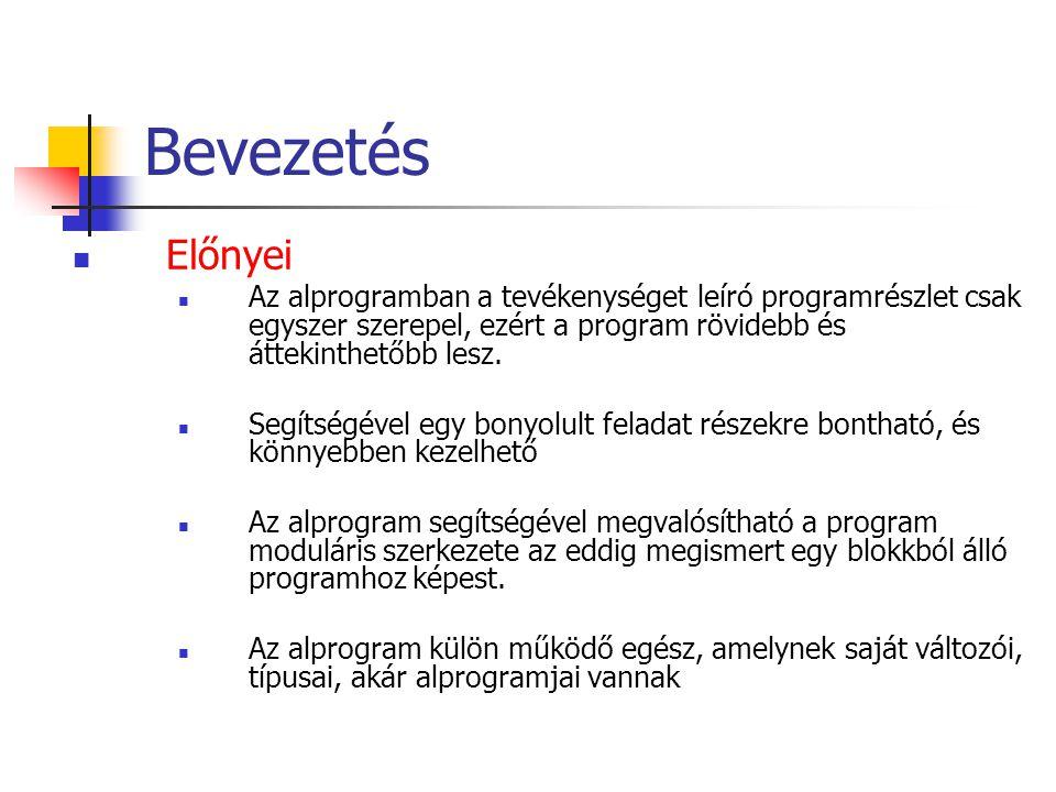 Bevezetés Előnyei. Az alprogramban a tevékenységet leíró programrészlet csak egyszer szerepel, ezért a program rövidebb és áttekinthetőbb lesz.