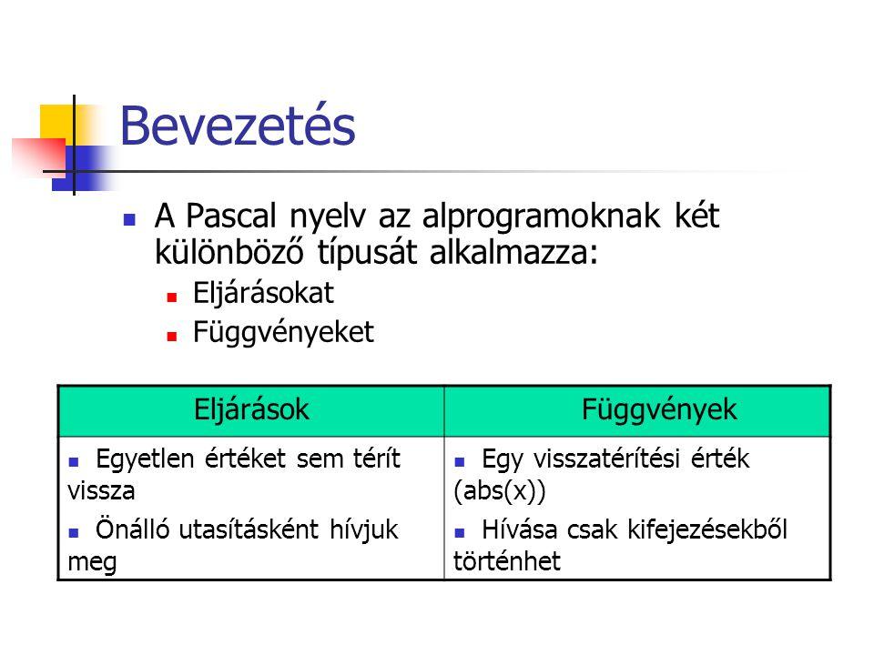 Bevezetés A Pascal nyelv az alprogramoknak két különböző típusát alkalmazza: Eljárásokat. Függvényeket.