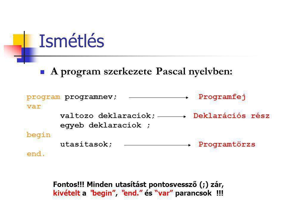 Ismétlés A program szerkezete Pascal nyelvben: