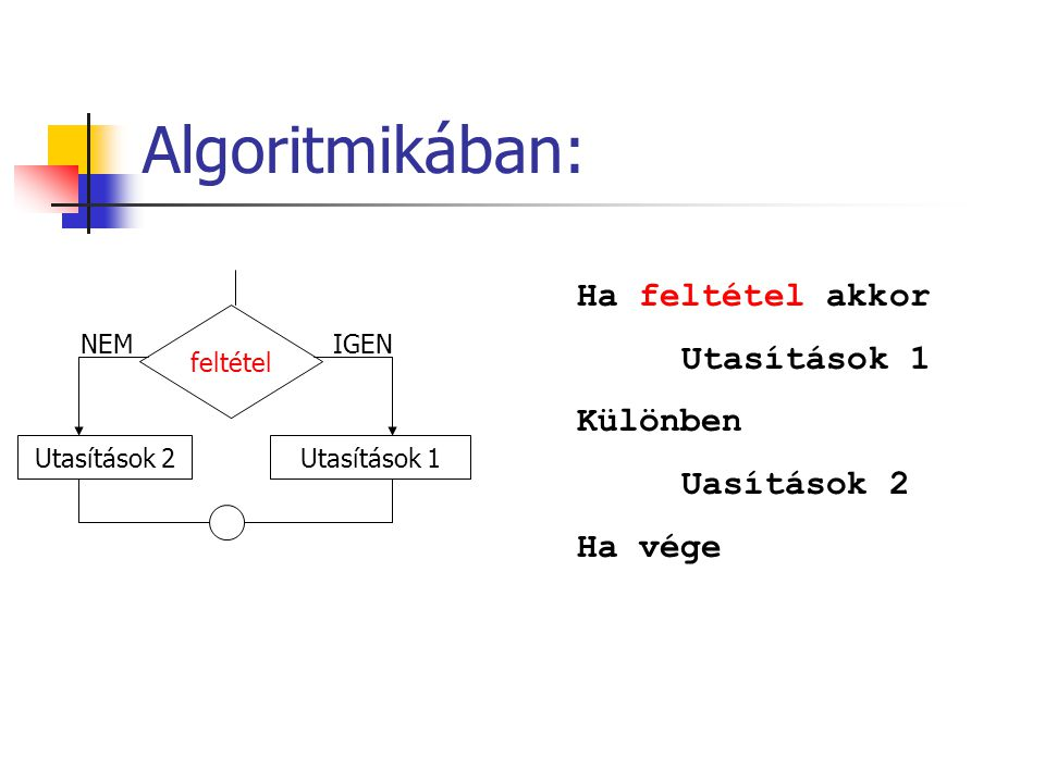Algoritmikában: Ha feltétel akkor Utasítások 1 Különben Uasítások 2