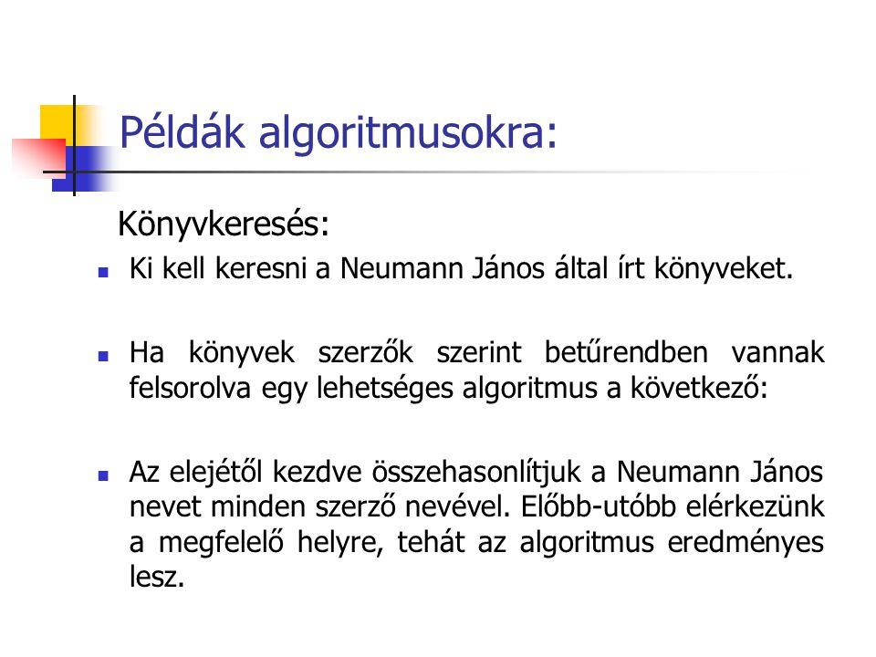Példák algoritmusokra: