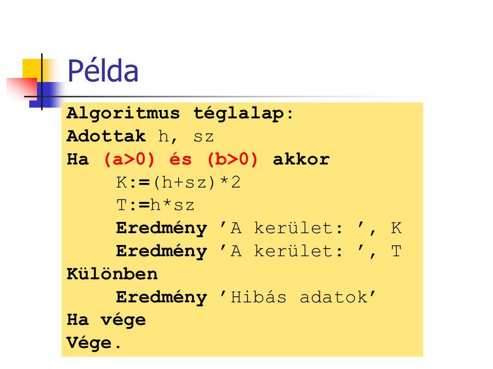 Példa Algoritmus téglalap: Adottak h, sz Ha (a>0) és (b>0) akkor