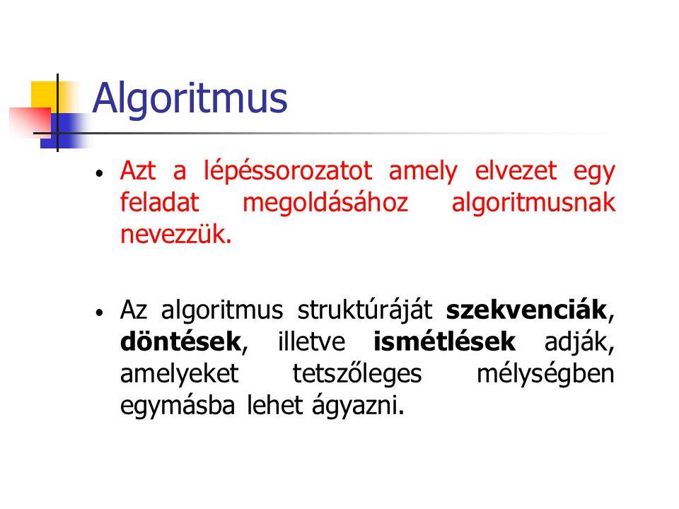 Algoritmus Azt a lépéssorozatot amely elvezet egy feladat megoldásához algoritmusnak nevezzük.