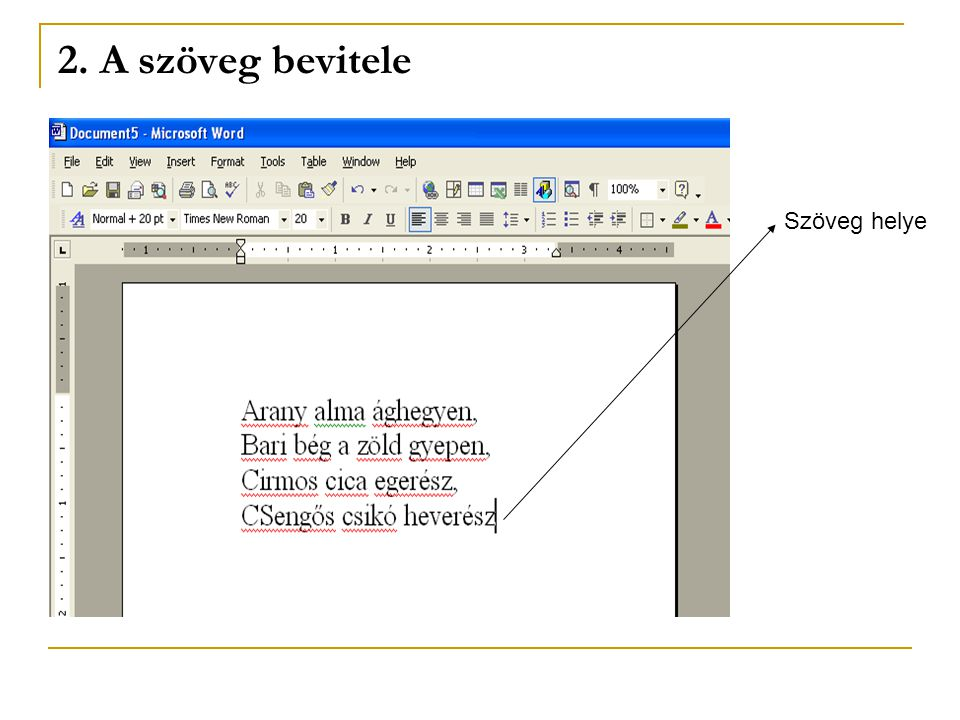 2. A szöveg bevitele Szöveg helye