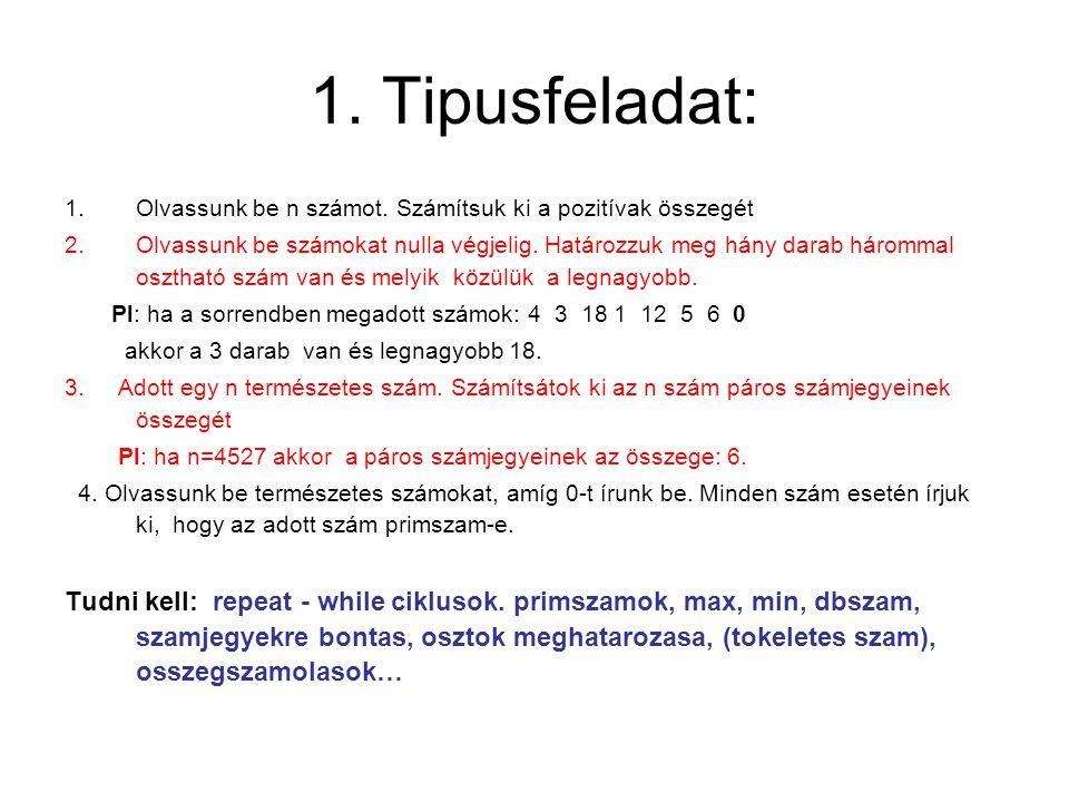 1. Tipusfeladat: Olvassunk be n számot. Számítsuk ki a pozitívak összegét.