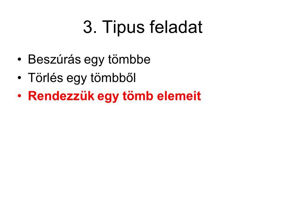 3. Tipus feladat Beszúrás egy tömbbe Törlés egy tömbből