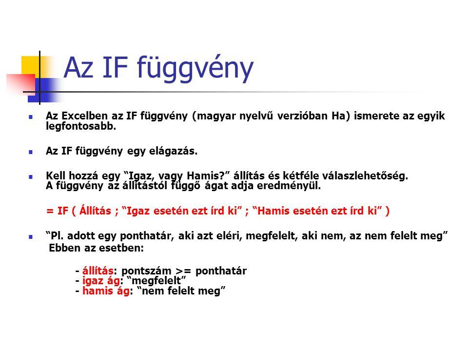Az IF függvény Az Excelben az IF függvény (magyar nyelvű verzióban Ha) ismerete az egyik legfontosabb.