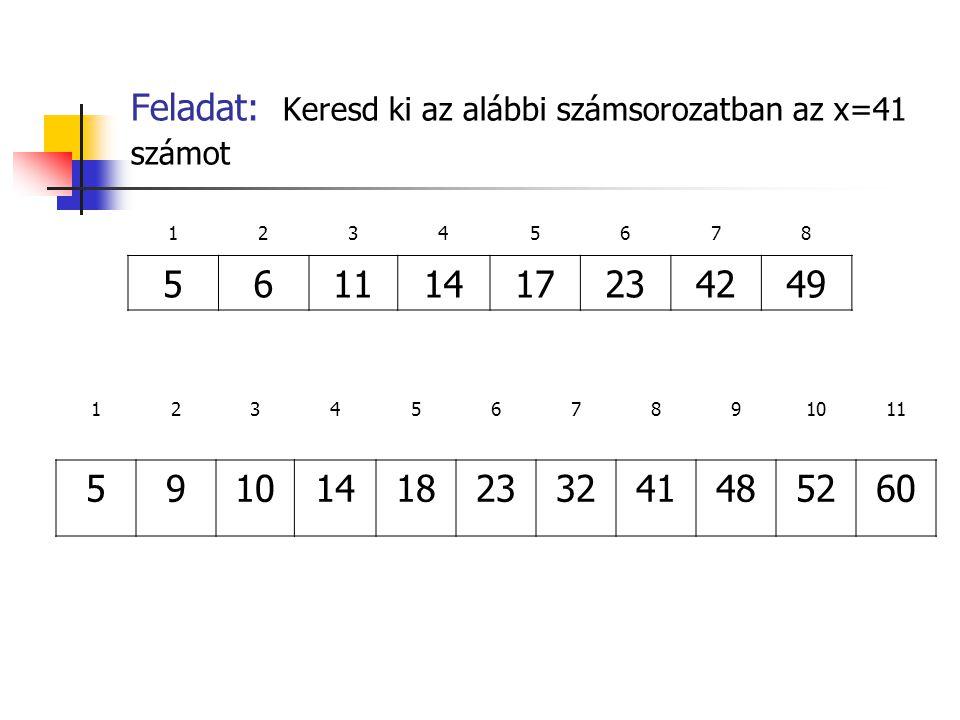 Feladat: Keresd ki az alábbi számsorozatban az x=41 számot