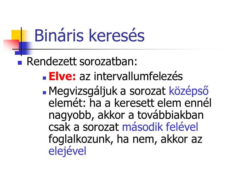 Bináris keresés Rendezett sorozatban: Elve: az intervallumfelezés