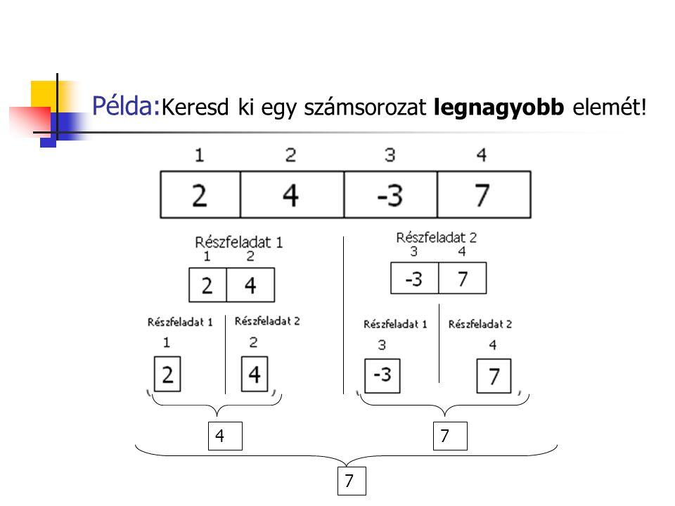 Példa:Keresd ki egy számsorozat legnagyobb elemét!