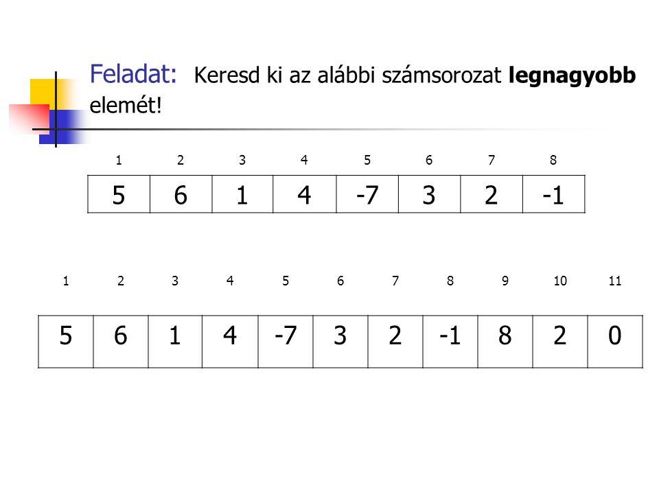 Feladat: Keresd ki az alábbi számsorozat legnagyobb elemét!