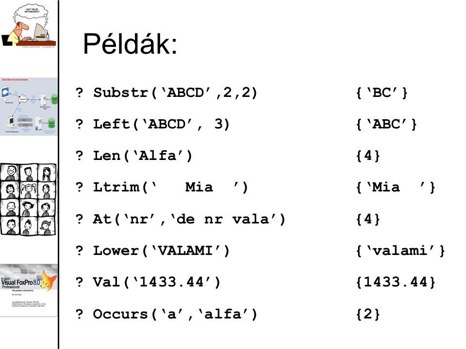Példák: Substr('ABCD',2,2) {'BC'} Left('ABCD', 3) {'ABC'}