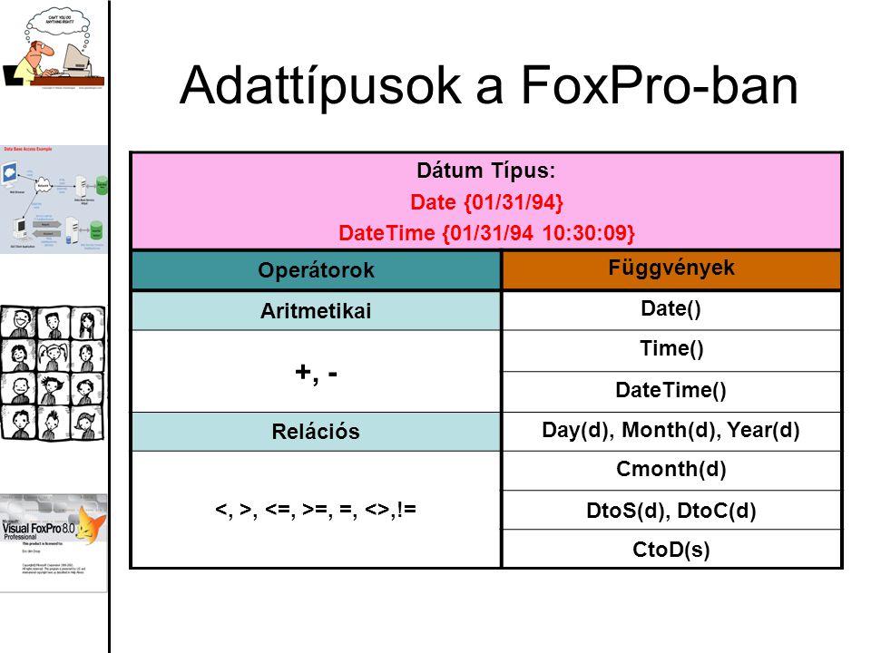 Adattípusok a FoxPro-ban