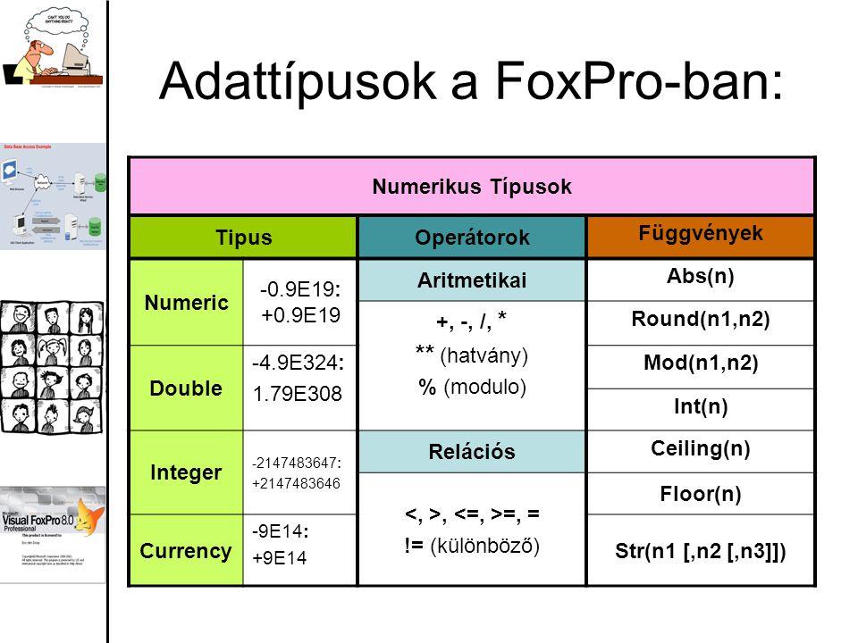 Adattípusok a FoxPro-ban: