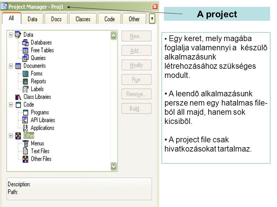 A project Egy keret, mely magába foglalja valamennyi a készülõ alkalmazásunk létrehozásához szükséges modult.